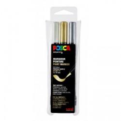 Posca penselspids guld-sølv-hvid sæt 3 stk PCF 350
